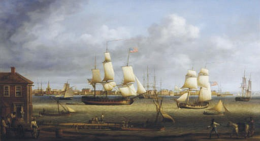 New York harbor anno 1788, with an American frigate, a gun brig and other shipping in the harbor and figures on the quayside