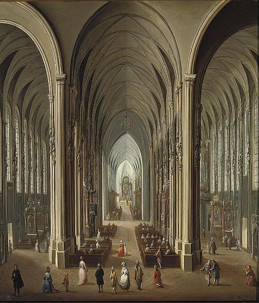 A gothic church interior with a mass in progress