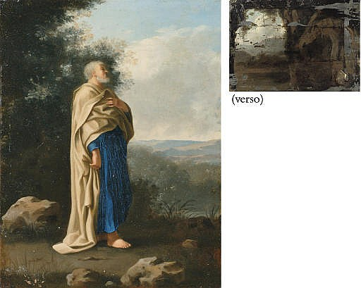 Saint Peter standing in an Italianate landscape