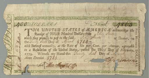 [CONTINENTAL LOAN OFFICE CERTIFICATE]. HOPKINSON, Francis (1737-1791), <I>Signer, Declaration of</I>