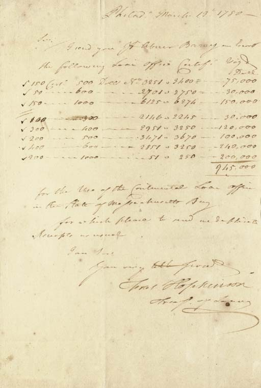 HOPKINSON, Francis (1737-1791), <I>Signer, New Jersey</I>. Autograph letter signed (