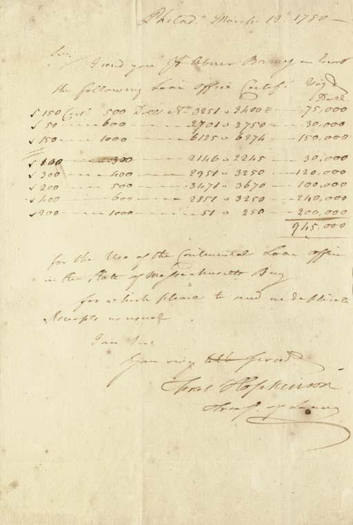 HOPKINSON, Francis (1737-1791), <I>Signer, New Jersey</I>. Autograph letter signed (