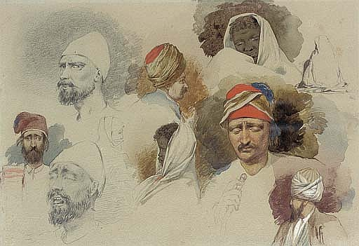 Study of Eastern heads and figures