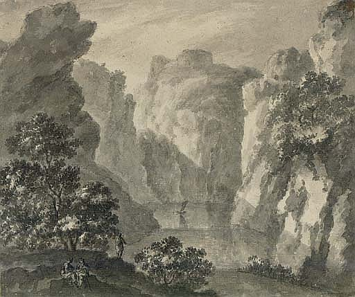 A gorge with a boat and figures in the foreground