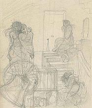 Study of figures in an interior (recto) with architectural studies (recto); and Study of two seated figures with a child (recto) and subsidiary studies of trees and branches (verso)