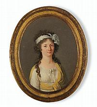 MARIE-VICTOIRE LEMOINE (French, 1754-1820) Portrait of a Lady oil on canvas, oval 13 x 10 ¾ in. (33 x 27.3 cm.)