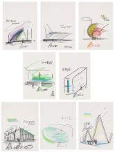 TADAO ANDO (B. 1941) Architectural Sketches (A Group of 8) Abu Dha