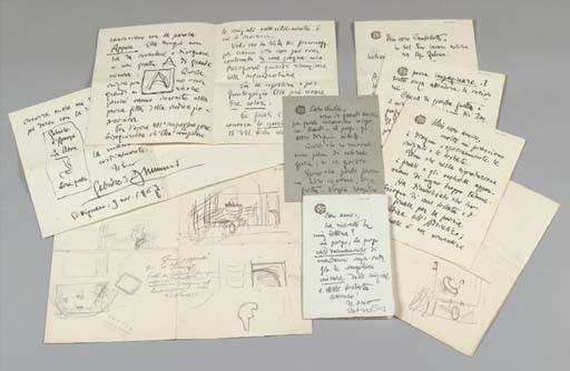 D'ANNUNZIO, Gabriele (1863-1938). Importante carteggio dell'Imaginifico, sette lettere autografe