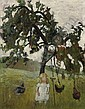 Elsbeth mit Hühnern unter Apfelbaum, Paula Modersohn-Becker, Click for value