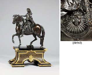 A BRONZE EQUESTRIAN GROUP OF LOUIS XIV, SET ON AN ORMOLU-MOUNTED EBONY-VENEERED BOULLE MARQUETRY BASE**