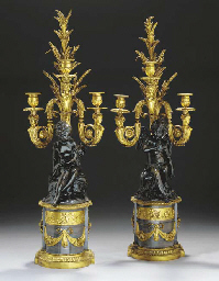 A PAIR OF LOUIS XVI ORMOLU, PATINATED-BRONZE AND BARDIGLIO MARBLE THREE-BRANCH CANDELABRA