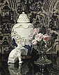 Still life with porcelain elephant and roses in a glass bowl, Jules-Alexandre Grun, Click for value