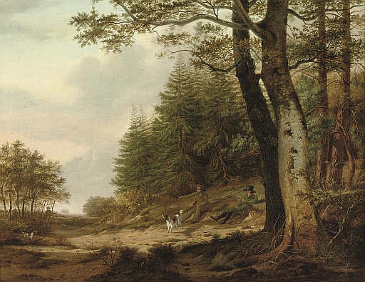Hunters on the edge of a forest