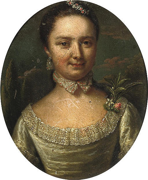 Portrait of a lady, half-length, in a green dress with floral decoration, standing in a park landscape