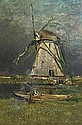 Fishing by the mill, Franz Courtens, Click for value