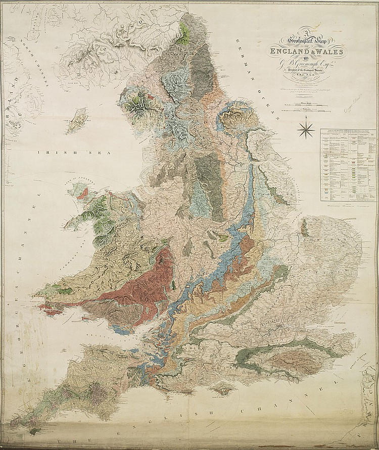GREENOUGH, George Bellas (1778-1855). A Geological Map of England and Wales . London: for the Geological Society, by Longman, etc., 1819-[1820]. Large rolled hand-coloured engraved map (1875 x 1617mm), to the scale of 5 nautical miles to one