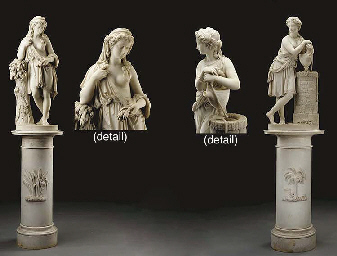 A pair of fine Italian marble figures of Ruth and Rebecca, on pedestals