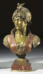 An Italian bronze and red enamelled bust of Bianca Capello