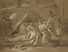 ÉTIENNE-BARTHÉLÉMY GARNIER (1759-1849) Antigone, rendant les derniers devoirs à son frère Polynice, est arrêtée par... plume et encre brune, lavis brun, rehaussé de blanc et de bleu, sur papier brun 39 x 50,5 cm.(15 ¼ x 19 ¾ in.)