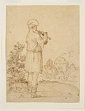 GIOVANNI FRANCESCO GRIMALDI (BOLOGNE 1606-1680 ROME) Joueur de flûte dans un paysage 24,6 x 18,5 cm. (9 5/8 x 7 ¼ in.)