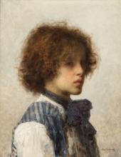 Aleksei Harlamoff (1840-1925) - Young boy wearing a striped vest