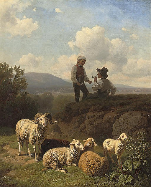Young shepherds having a smoke
