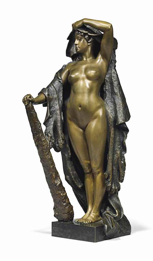 A FRENCH PATINATED-BRONZE FIGURE OF OMPHALE