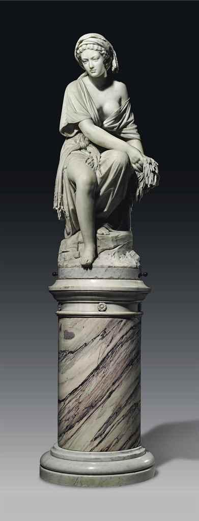 AN ITALIAN MARBLE FIGURE OF RUTH, ON PEDESTAL