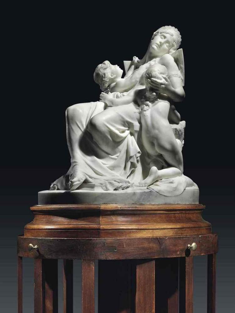 A FRENCH MARBLE GROUP ENTITLED 'LA MORT D'ALCESTE' (THE DEATH OF ALCESTIS), ON OAK PEDESTAL