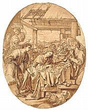 MICHEL II CORNEILLE (1642-1708) L'Adoration des Bergers Plume et encre brune et noire, lavis brun, mise au carreau à la sanguine, traits d'encadrement à l'encre brune, les contours incisés 35,7 x 27,9 cm., ovale