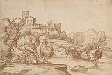 GIOVANNI FRANCESCO GRIMALDI, IL BOLOGNESE (BOLOGNE 1606-1680 ROME) Villa italienne dans un paysage arboré au bord d'une rivière pierre noire, plume et encre brune 22 x 32,2 cm.