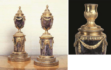 A PAIR OF GEORGE III ORMOLU-MOUNTED BLUEJOHN 'CANDLE VASES'