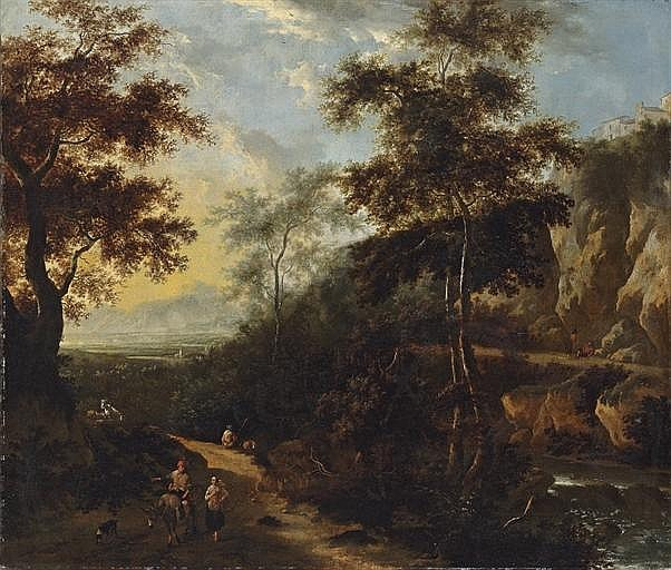 An extensive Italianate landscape with travellers on a wooded track