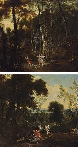 A wooded landscape with Meleager and Atalanta leading the hunt for the Caledonian boar; and A wooded landscape with Meleager dealing the death blow to the boar, Atalanta beside him