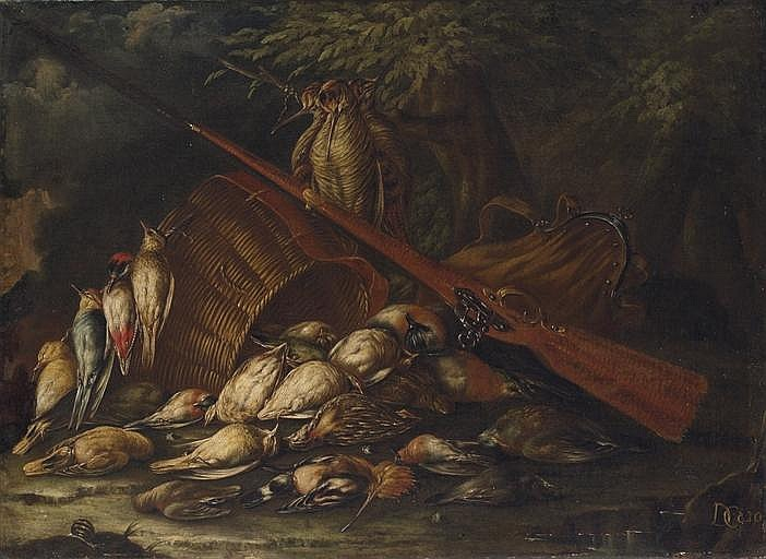 Still life with dowitcher, hoopoe, woodpecker, yellowhammer and other game birds, a hunting bag and a gun, on a forest floor