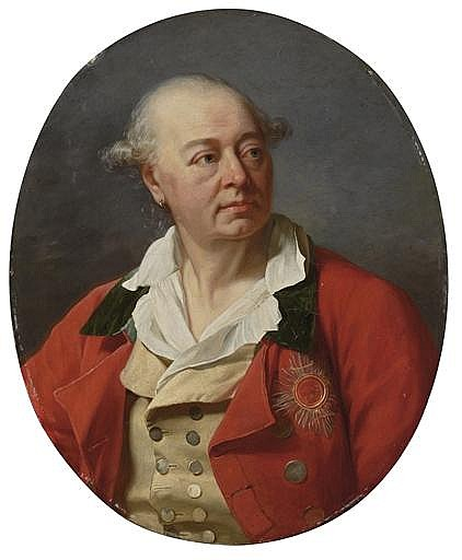 Portrait of a man, bust-length, in a red coat, with the star of the Bavarian Order of Saint Hubert