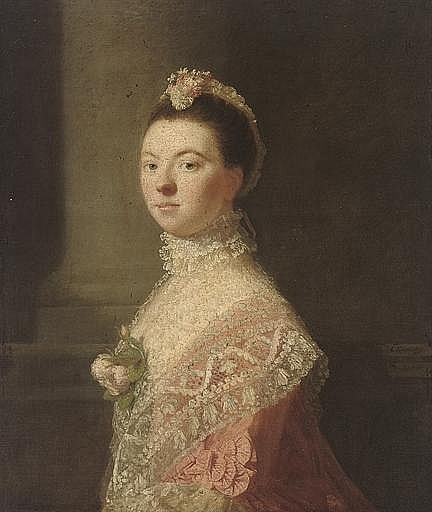 Portrait of Anne, Lady North (c. 1740-1797), wife of Frederick North, 2nd Baron North, three-quarter-length, in a pink dress and lace shawl with roses at her décolletage, and a lace headdress, by a column