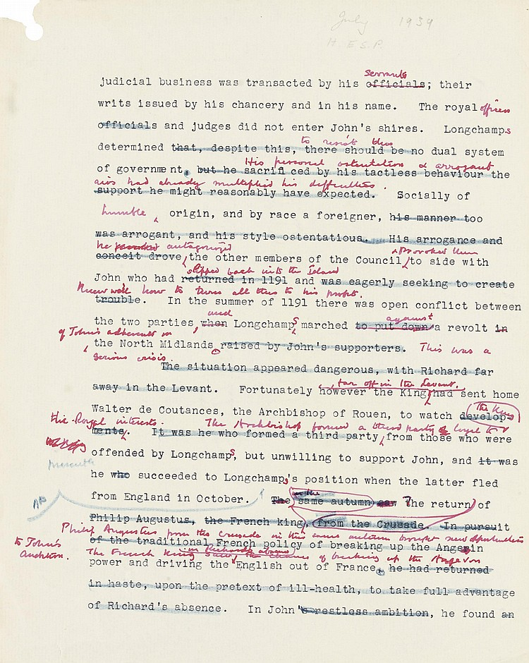 CHURCHILL, Winston S. Typescript with extensive autograph corrections, a page from the working draft of A History of the English Speaking Peoples , [July 1939], a passage concerning the crisis between the future King John and Longchamps