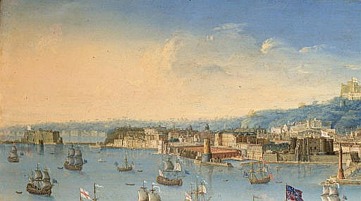 A view of Naples from the sea with a British Man-o'-War firng a salute
