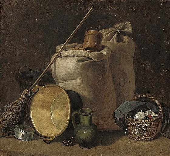 Sacks of grain, a broom, an up-turned pot, a jug and a basket of yarn