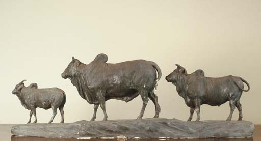 A GEORGE III PATINATED PLASTER-ON-WIRE MODEL OF TWO OXEN AND A CALF