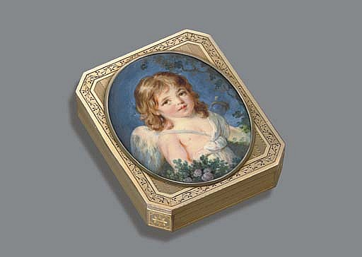 A RARE RUSSIAN GOLD SNUFF-BOX SET WITH A MINIATURE