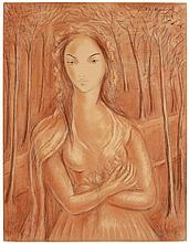 Victor Manuel (1897-1969) Mujer sanguine and graphite on paper 25 ½ x 19 5/8 in. (64.8 x 49.9 cm.)