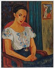 Victor Manuel (1897-1969) Retrato de una mujer con blusa mexicana oil on canvas 36 ¾ x 29 in. (93.3 x 73.7 cm.)