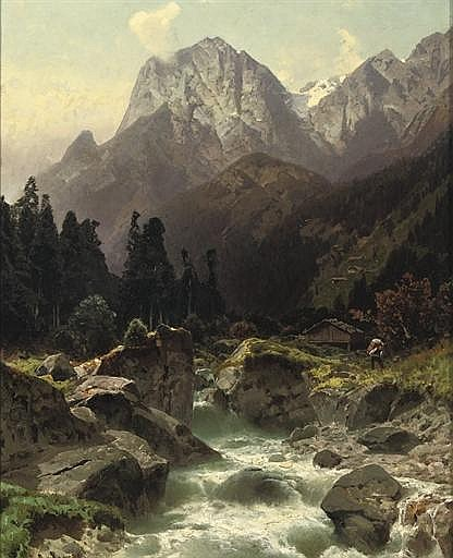 Along a Alpine river