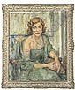 Portrait of the Hon. Mrs. Angela Lascelles, seated, three-quarter length, in a blue dress and wrap in an interior, Joseph Oppenheimer, Click for value