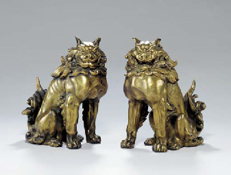 A Pair of Gilt-Bronze Models of Guardian Dogs ( Komainu )