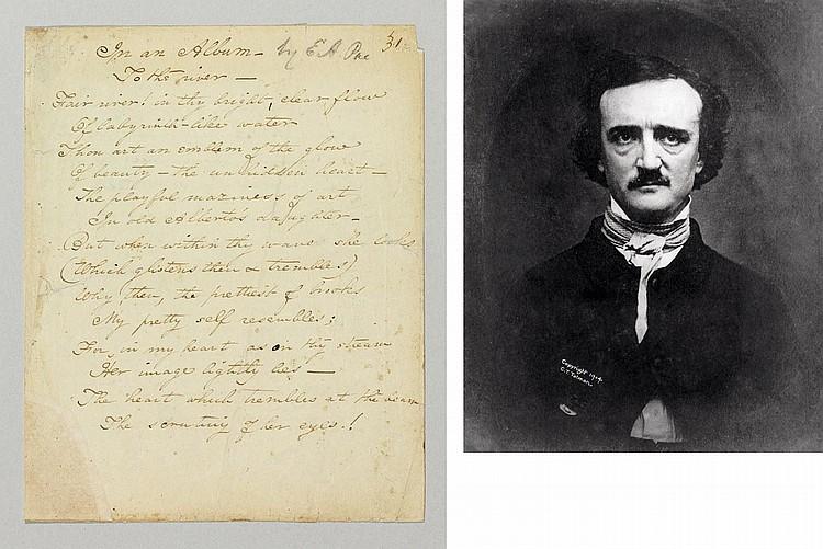 POE, Edgar Allan (1809-1849). Autograph manuscript of two poems,
