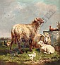 Sheep and chickens in a pasture, Henri
