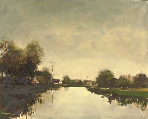 Fisherman on a bank of the river Lys